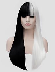 Недорогие -Парики из искусственных волос Прямой Kardashian Стиль С чёлкой Без шапочки-основы Парик Белый Черный / Белый Искусственные волосы Жен. Белый Парик Длинные