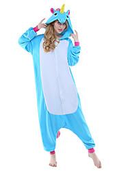 cheap -Adults' Kigurumi Pajamas Unicorn Flying Horse Animal Onesie Pajamas Polar Fleece Yellow+Blue / Black / Purple Cosplay For Men and Women Animal Sleepwear Cartoon Festival / Holiday Costumes