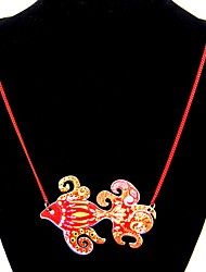 cheap -Women's Bohemian Pendant Necklace Red / Pink / Light Blue