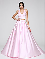 cheap -Ball Gown Two Piece Pastel Colors Formal Evening Dress Halter Neck Sleeveless Sweep / Brush Train Satin with Pleats 2020