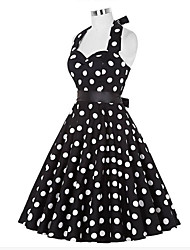 cheap -Women's Going out Vintage A Line Dress - Polka Dot Halter Neck Summer White Black L XL XXL