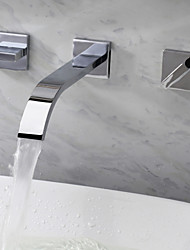 cheap -Bathroom Sink Faucet - Waterfall Chrome Wall Mounted Three Holes / Two Handles Three HolesBath Taps