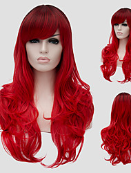 cheap -Synthetic Wig Wavy Wavy With Bangs Wig Long Red Synthetic Hair Women's Side Part Red