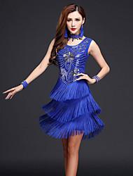 cheap -Latin Dance Dresses Women's Performance Chinlon / Milk Fiber Tassel Sleeveless High Dress / Neckwear