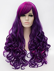 cheap -Cosplay Costume Wig Synthetic Wig Cosplay Wig Curly Wavy Natural Wave Natural Wave Curly With Bangs Wig Long Purple Synthetic Hair Women's Highlighted / Balayage Hair Side Part Purple