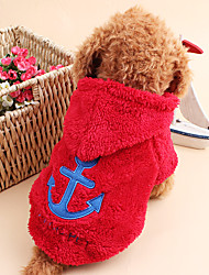 cheap -Cat Dog Hoodie Dog Clothes Sailor Rose Red Blue Corduroy Costume For Spring &  Fall Winter Men's Women's Keep Warm