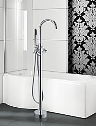 cheap -Contemporary Art Deco/Retro Modern Tub And Shower Waterfall Handshower Included Pullout Spray Widespread Floor Standing Ceramic Valve Two