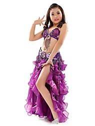 cheap -Belly Dance Outfits Performance Chiffon Split Front / Paillette Sleeveless Dropped Top