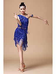 cheap -Latin Dance Outfits Women's Performance Cotton / Polyester / Sequined Sequin / Tassel Sleeveless Natural Top / Skirt
