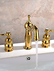 cheap -Contemporary Art Deco/Retro Modern Widespread Widespread Ceramic Valve Two Handles Three Holes Ti-PVD, Bathroom Sink Faucet