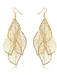 cheap -Women's Hollow Out Long Earrings Earrings Leaf Ladies Tassel Bohemian Fashion Boho Jewelry Golden For Daily Casual