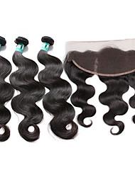cheap -brazilian virgin hair body wave 3 bundles unprocessed human hair weave with 1 pcs 13 4 ear to ear lace frontal closure