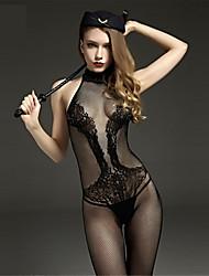 cheap -Women's Mesh Plus Size Gartered Lingerie / Ultra Sexy / Teddy Nightwear Jacquard Black XL XXL XXXL