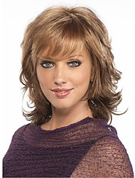 cheap -Synthetic Wig Cosplay Wig Curly Curly Bob With Bangs Wig Blonde Medium Length Dark Brown Synthetic Hair Women's Side Part African American Wig Blonde Brown