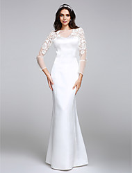 cheap -Mermaid / Trumpet Bateau Neck Floor Length Satin Long Sleeve Made-To-Measure Wedding Dresses with Lace / Button 2020