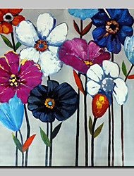 cheap -Oil Painting Hand Painted - Floral / Botanical Modern With Stretched Frame / Stretched Canvas