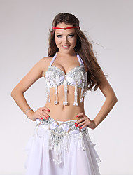 cheap -Belly Dance Outfits Women's Performance Cotton / Polyester Beading / Sequin / Tassel Sleeveless Dropped Top / Belt