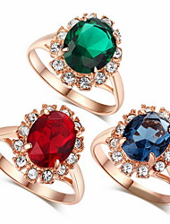 cheap -Statement Ring Cubic Zirconia Red Blue Green Zircon Alloy Cocktail Ring Statement Fashion / Women's
