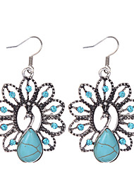cheap -Women's Girls' Turquoise Animal Peacock Ladies Vintage Bohemian western style Rhinestone Silver Plated Imitation Diamond Earrings Jewelry Blue For Party Daily Casual