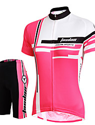 cheap -Women's Short Sleeve Cycling Jersey with Shorts Red Pink Solid Color Bike Shorts Jersey Padded Shorts / Chamois Breathable 3D Pad Quick Dry Reflective Strips Back Pocket Sports Solid Color Mountain