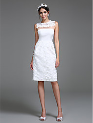 cheap -Sheath / Column Jewel Neck Knee Length Chiffon Regular Straps Little White Dress Made-To-Measure Wedding Dresses with Flower 2020