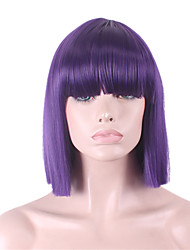 cheap -Synthetic Wig Straight Yaki Straight Yaki Bob With Bangs Wig Purple Synthetic Hair Women's With Bangs Purple