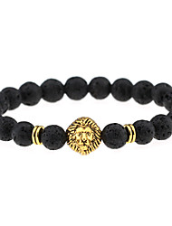 cheap -Men's Women's Couple's Onyx Agate Charm Bracelet Bead Bracelet Lion Animal Chakra Ladies Personalized Vintage Bohemian Punk Agate Bracelet Jewelry Gold / Silver For Party Daily Casual Sports