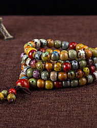 cheap -Bead Bracelet Beaded Layered Stacking Stackable Ladies Fashion Multi Layer Ceramic Bracelet Jewelry Brown For Daily Casual
