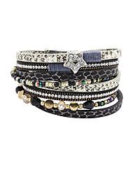 cheap -Women's Crystal Wrap Bracelet Leather Bracelet Star Luxury Vintage Bohemian Double-layer Fashion Crystal Bracelet Jewelry Black For Party Daily Casual Sports / Imitation Diamond / Rhinestone