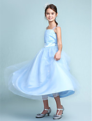 cheap -Ball Gown Straps Knee Length Satin / Tulle Junior Bridesmaid Dress with Beading / Draping / Sash / Ribbon / Spring / Summer / Fall / Wedding Party / Natural