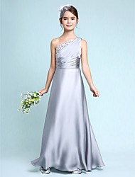 cheap -Sheath / Column One Shoulder Floor Length Chiffon Satin Junior Bridesmaid Dress with Side Draping / Ruched / Natural