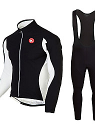 cheap -KEIYUEM Men's Women's Long Sleeve Cycling Jersey with Bib Tights Winter Fleece Coolmax® Mesh Bike Clothing Suit Thermal / Warm Fleece Lining Breathable 3D Pad Quick Dry Sports Classic Clothing Apparel