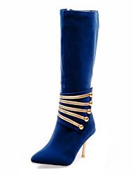cheap -Women's Boots Velvet Boots Stiletto Heel Zipper Leatherette 30.48-35.56 cm / Knee High Boots Fashion Boots Winter Black / Red / Blue / Party & Evening