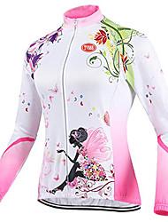 abordables -TVSSS Femme Manches Longues Maillot Velo Cyclisme Hiver Toison Coolmax® Térylène Mosaïque Britannique Floral Botanique Cyclisme Hauts / Top Respirable Des sports Vêtement Tenue / Haute élasticité