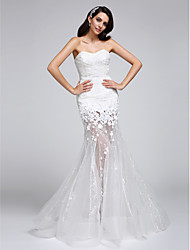cheap -Mermaid / Trumpet Sweetheart Neckline Floor Length Corded Lace Strapless Sexy Illusion Detail Wedding Dresses with Lace / Flower 2020