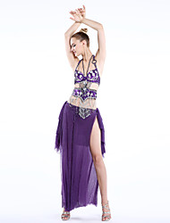 cheap -Belly Dance Outfits Women's Training / Performance Polyester / Spandex / Chinlon Beading / Buttons / Sashes / Ribbons Skirt / Bra / Waist Belt