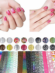 cheap -20 sheet mix color transfer foil nail art flower design sticker decal for polish care diy nail art