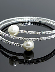 cheap -Women's Crystal Charm Bracelet Bracelet Bangles Tennis Bracelet Classic Star Ladies Bridal Pearl Bracelet Jewelry White For Wedding Party Masquerade Engagement Party Prom Promise / Wrap Bracelet