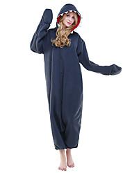 cheap -Adults' Kigurumi Pajamas Shark Animal Onesie Pajamas Polar Fleece Ink Blue Cosplay For Men and Women Animal Sleepwear Cartoon Festival / Holiday Costumes