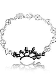 abordables -Chaînes Bracelets Femme Argent sterling Croix Forme de Feuille Rétro Vintage Mode Bracelet Bijoux Argent / Noir pour Mariage Soirée Quotidien Décontracté