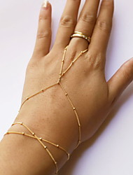 cheap -Women's Ring Bracelet / Slave bracelet Beaded Slaves Of Gold Ladies Simple Style Fashion Cute Alloy Bracelet Jewelry Golden For Daily Casual