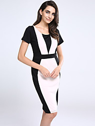 cheap -Women's Red Green Dress Street chic Summer Going out A Line Bodycon Patchwork Split S M Slim / Cotton