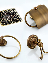 cheap -Bathroom Accessory Set Antique Brass Include Toilet Paper Holders, Robe Hook, Towel Ring and Drain 4pcs