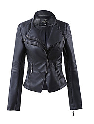 cheap -Women's Daily Spring / Fall Short Leather Jacket, Solid Colored V Neck Long Sleeve PU White / Black / Wine