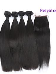 cheap -4 Bundles Brazilian Hair Body Wave Virgin Human Hair Hair Weft with Closure Human Hair Weaves Human Hair Extensions / 10A