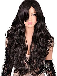 cheap -Synthetic Wig Natural Wave Kardashian Natural Wave Side Part Wig Long Dark Brown Synthetic Hair Women's Fashion With Bangs Dark Brown