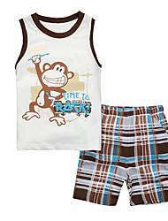 cheap -Toddler Boys' Cartoon Daily Patchwork Sleeveless Cotton Clothing Set White