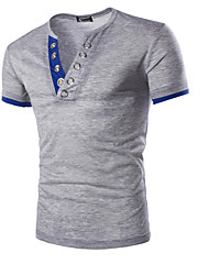 cheap -Men's Daily Sports T-shirt - Solid Colored Navy Blue / Short Sleeve / Summer
