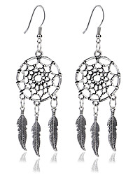 cheap -Women's Girls' Crystal Drop Earrings Leaf Feather Ladies Tassel Vintage Bohemian Fashion Native American Crystal Rhinestone Gold Plated Earrings Jewelry Silver For Party Daily Casual 1pc / Turquoise