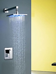 cheap -Shower Faucet / Bathtub Faucet / Bathroom Sink Faucet - Contemporary / Modern Chrome Wall Mounted Ceramic Valve Bath Shower Mixer Taps / Brass / Single Handle One Hole